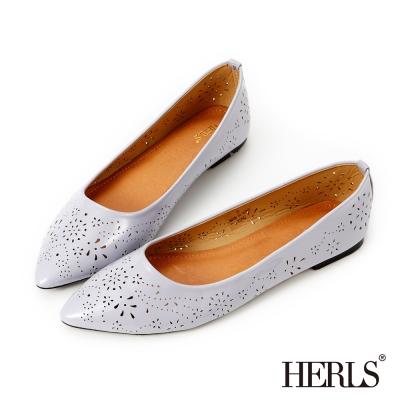 HERLS 清甜夏日 煙花雕刻尖頭平底鞋-紫色