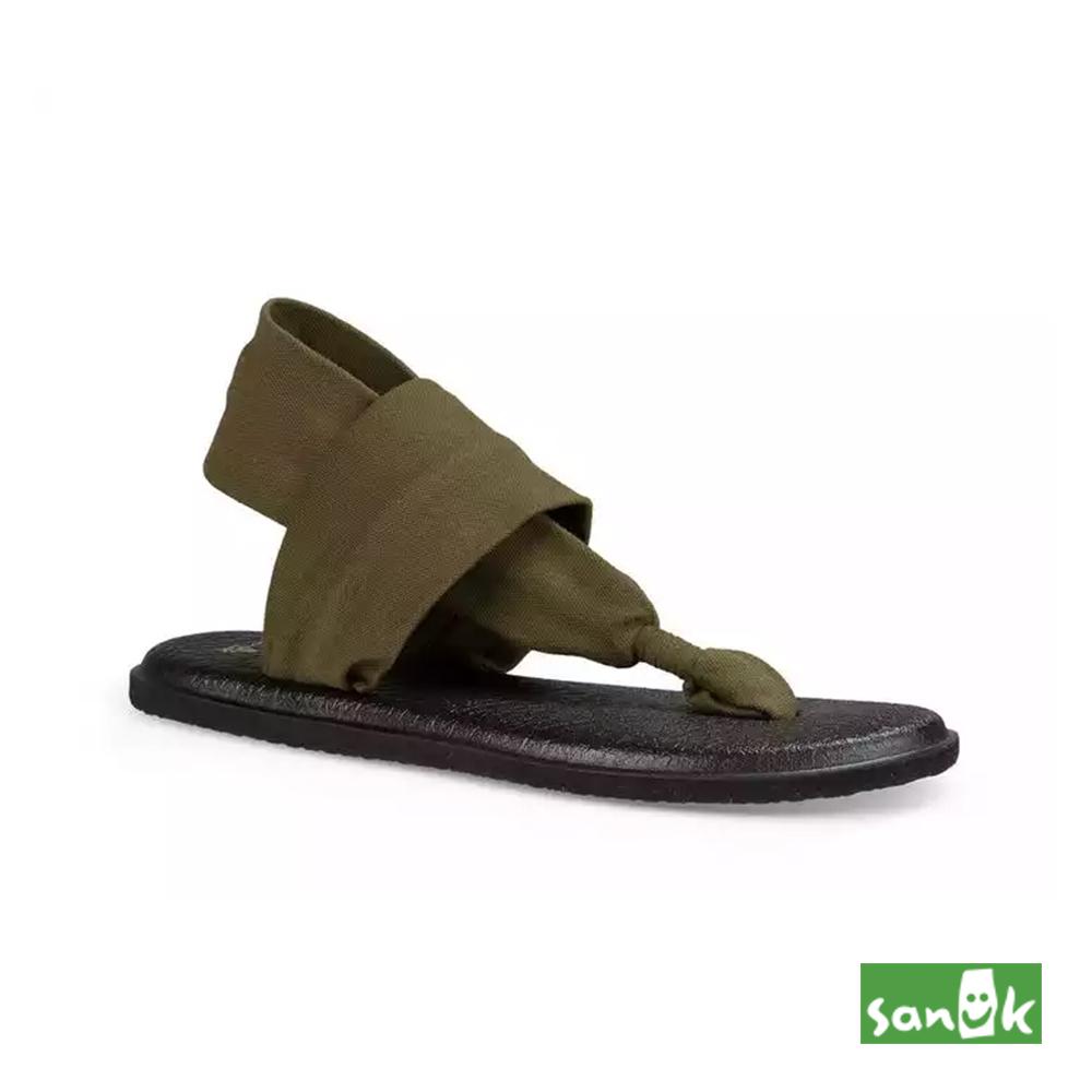SANUK 素面綁帶人字涼鞋-女款(草綠色)