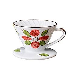 Tiamo V01日式手繪陶瓷咖啡濾器-山茶花(HG5548B)