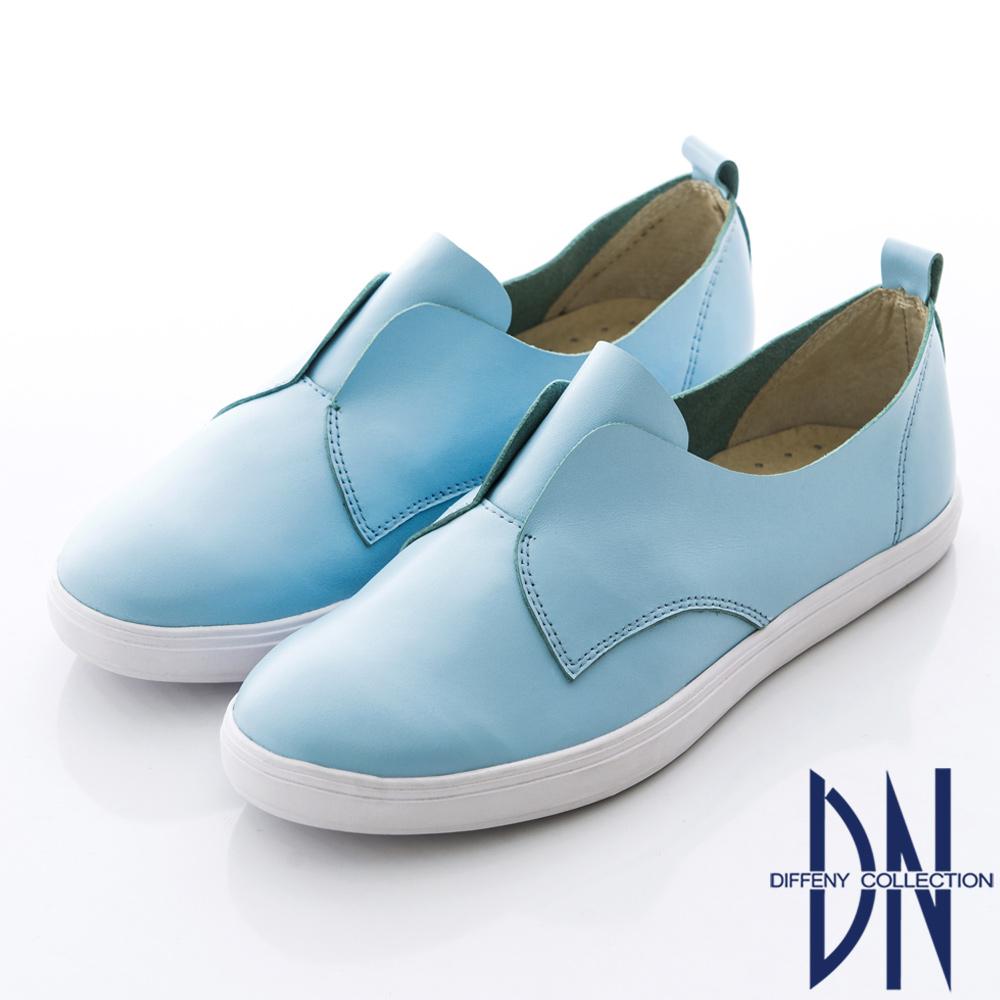 DN 夏日簡約 舒適牛皮素面厚底懶人鞋 水藍 @ Y!購物