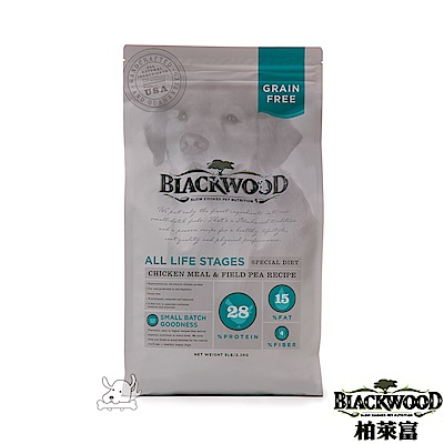 BlackWood 柏萊富 無榖全齡低敏純淨(雞肉+碗豆)15磅(6.8公斤)X 1包