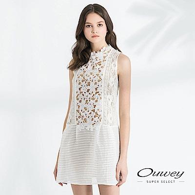 OUWEY歐薇 假透膚縷空花朵蕾絲背心洋裝(白)