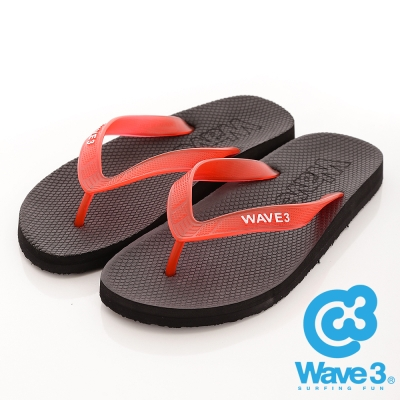 WAVE3-台灣製-男果凍耳帶人字夾腳拖鞋-黑