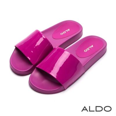 ALDO 沁涼果凍色寬版懶人涼拖鞋~紫丁香色