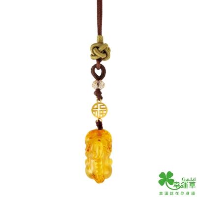 幸運草 旺福貔貅黃金/琥珀/中國繩吊飾