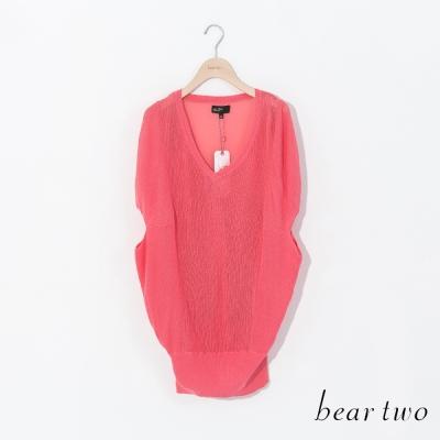 beartwo-繭型透膚造型寬版針織衫-桃紅