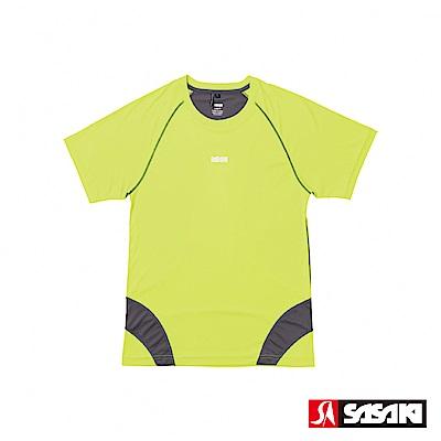 SASAKI 高彈力機能性運動緊身圓領短衫-男-艷黃/深灰