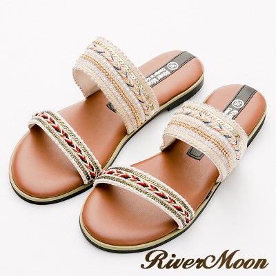 River&Moon大尺碼-異國圖騰一字寬版Q軟底涼拖鞋-米