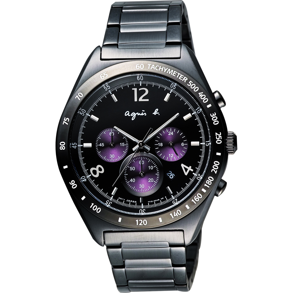agnes b. 宇宙星馳視距儀計時腕錶-IP黑x紫/42mm