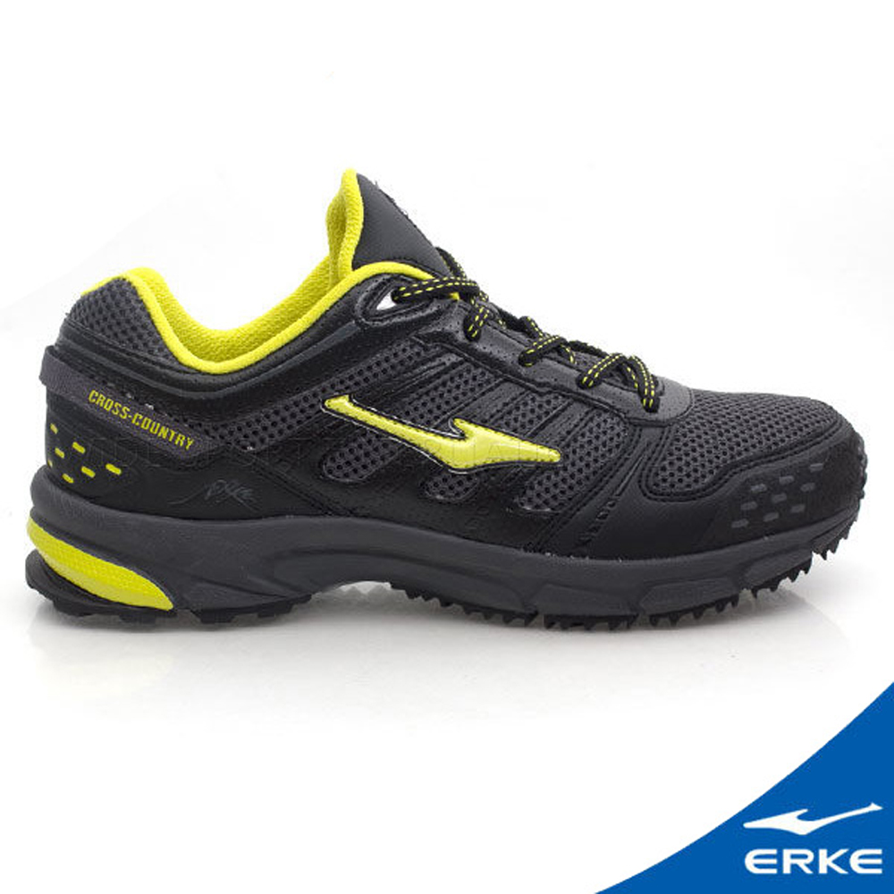ERKE 鴻星爾克。男運動登山越野跑鞋 正黑/果綠