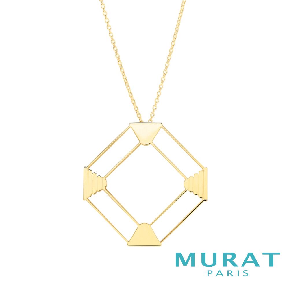 MURAT PARIS米哈巴黎 摩登鏤空菱形項鍊(金色款)