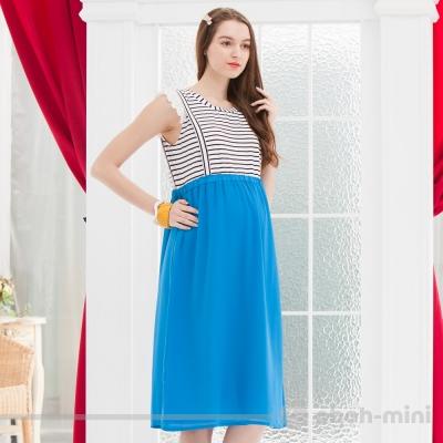 ohoh-mini孕婦裝南洋度假風蕾絲條紋圓領長洋裝