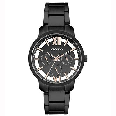 GOTO LINK系列裸空三眼精品時尚手錶-IP黑/37mm