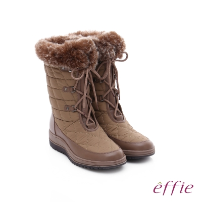 effie-混搭美型-異材質拼接兔毛菱格綁帶中筒靴