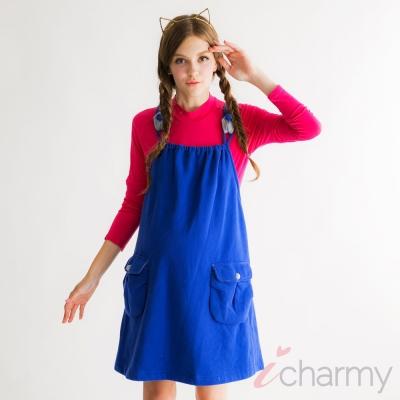 愛俏咪I charmy保暖厚質地柔軟類毛料條紋口袋腰部綁帶吊帶洋裝-藍