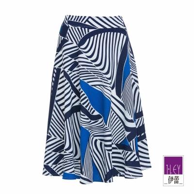 ILEY伊蕾-不規則色塊拼接圓裙