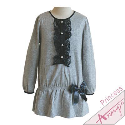 休閒蕾絲單排釦長袖連身裙*灰