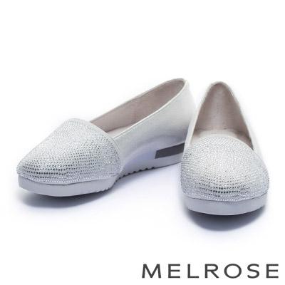 休閒鞋 MELROSE 金屬光澤晶鑽厚底休閒鞋-銀