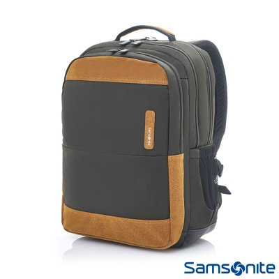 Samsonite新秀麗-Squad都市輕盈休閒筆電後背包II-14吋-橄欖綠-卡其