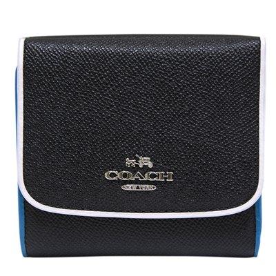 COACH-多色皮革飾邊三折扣式短夾-黑-多色