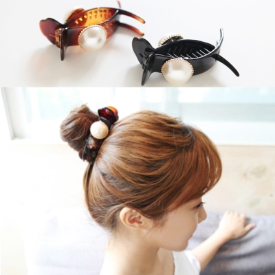 梨花HaNA 韓國新版單顆珍珠簡單生活長抓夾