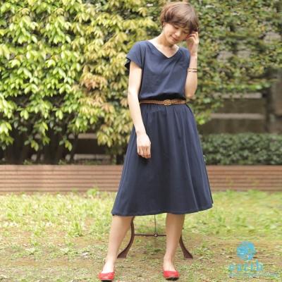 earth music 素面V領鬆緊腰設計洋裝/連身裙