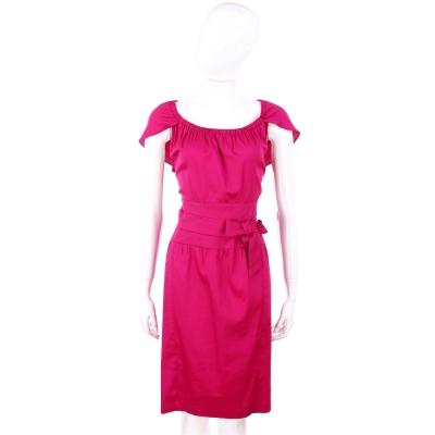 NINA 桃紅色綁帶蝴蝶結飾包袖洋裝 @ Y!購物