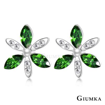 GIUMKA 綺麗花朵 水晶耳環-綠