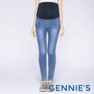 Gennies專櫃-彈性素色修身孕婦牛仔褲-淺牛仔藍(T4C08)