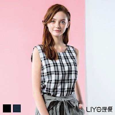 LIYO理優格紋無袖上衣(黑)