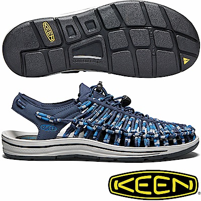 KEEN 1018700深藍/迷彩 Uneek男專業戶外護趾編織涼鞋