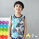 Azio Kids 背心 熱帶椰葉滾邊涼爽背心(藍)