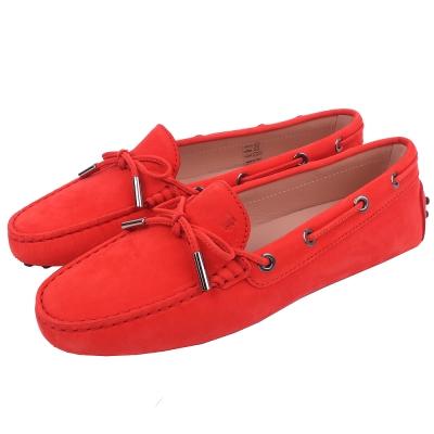 TOD'S Gommino 經典壓紋綁帶豆豆休閒鞋(橘紅色)