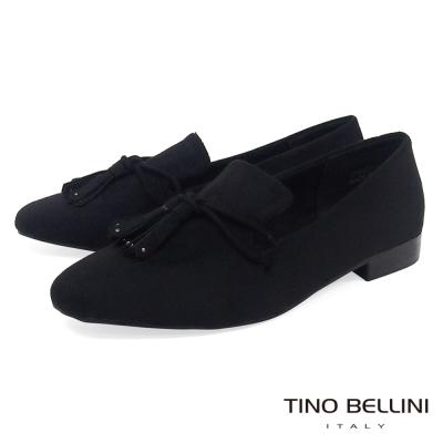 Tino Bellini 率性線條造型流蘇樂福鞋_ 黑