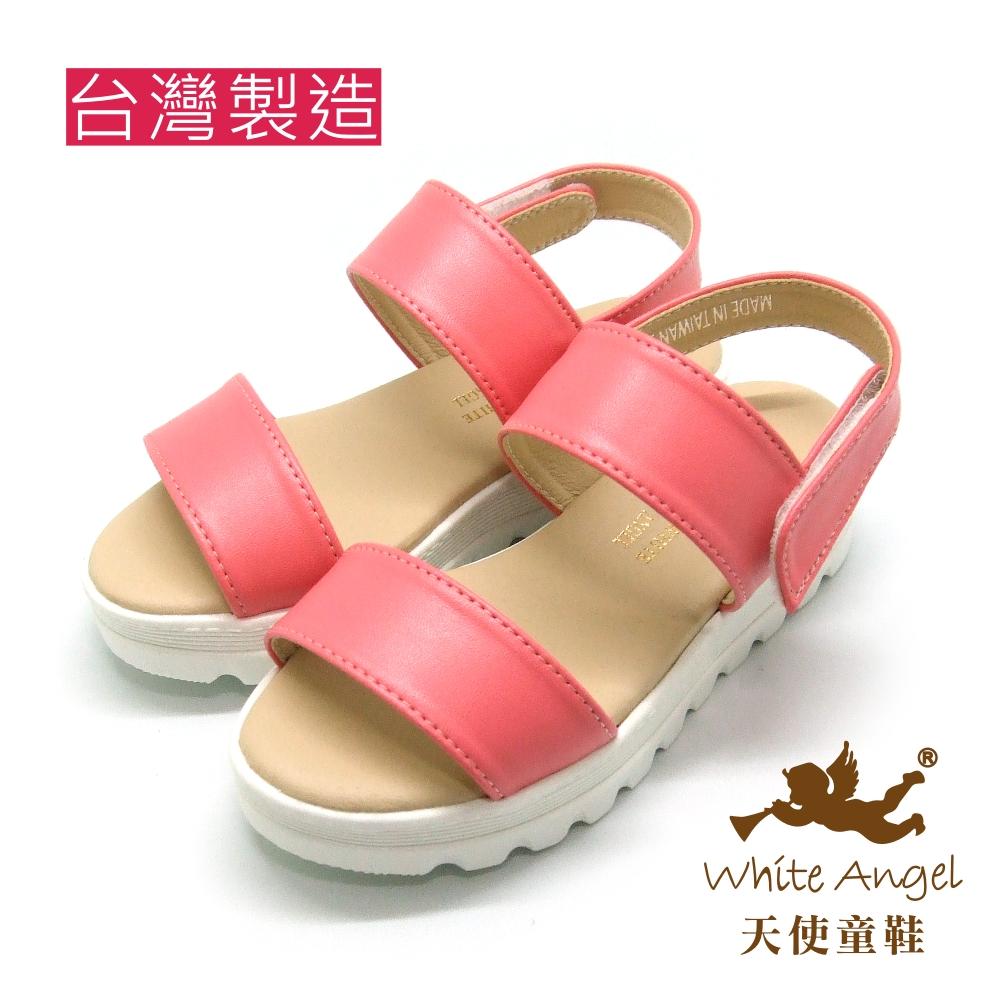 天使童鞋-J828 簡約百搭二字厚底涼鞋-甜心粉