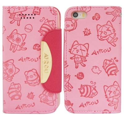 Aztec 艾路貓 Apple iPhone5/5S/SE 掀蓋式皮套 手機殼-小貓淺粉