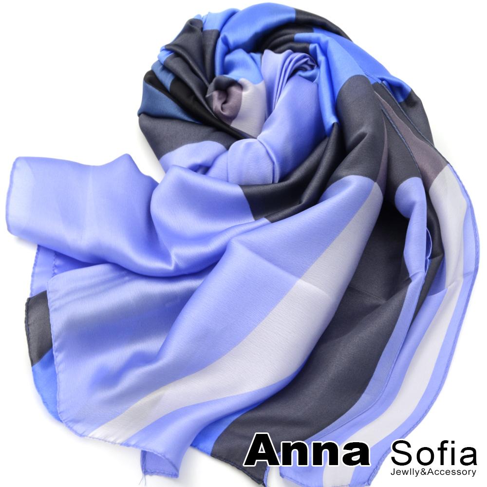 【滿額再75折】AnnaSofia 光澤柔滑格紋 亮緞面仿絲披肩絲巾圍巾(藍黑系)