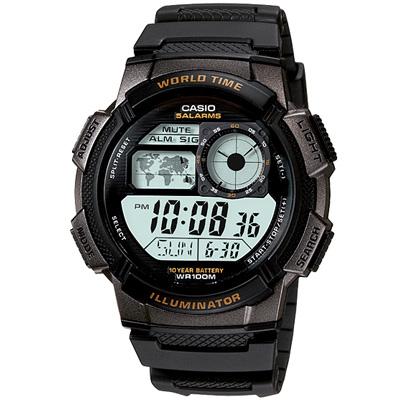 CASIO 世界之城電子數位膠帶錶(AE-1000W-1A)-黑框