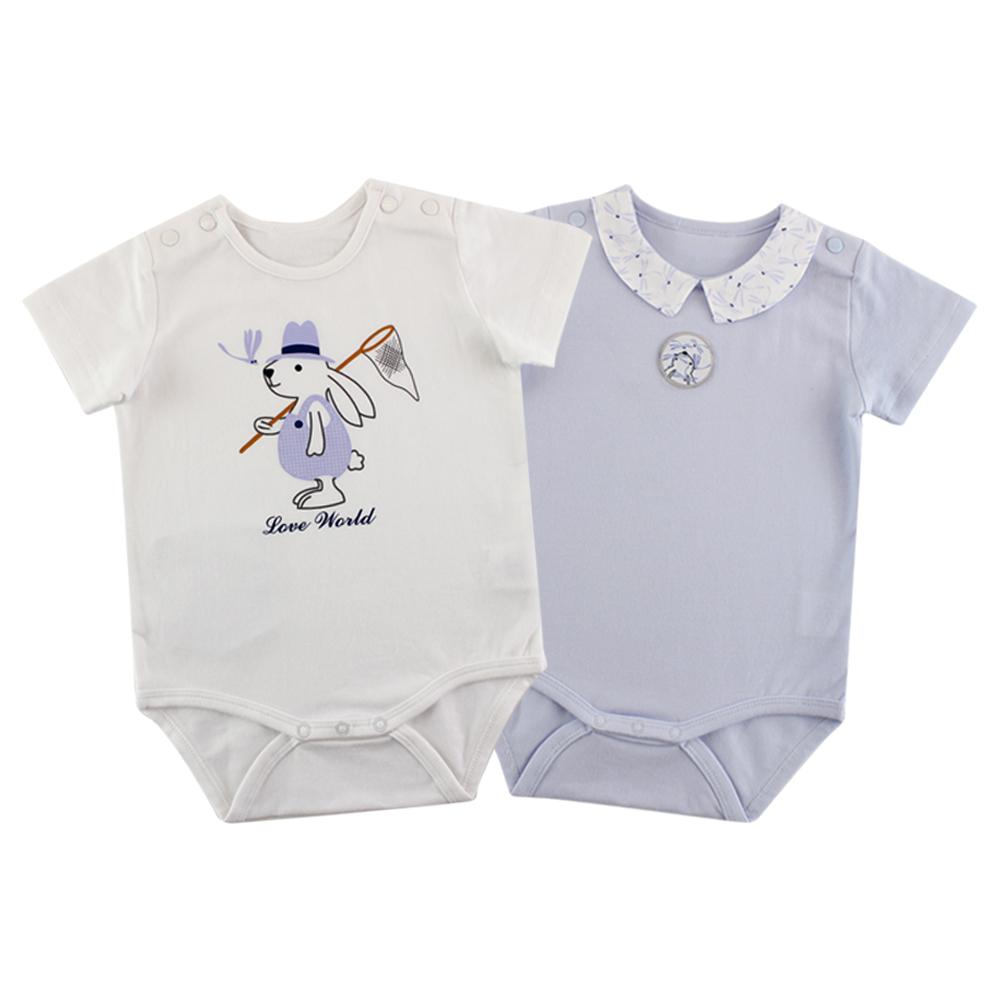 愛的世界 彈性小兔蜻蜓短袖包屁衣2件組/3M~1歲