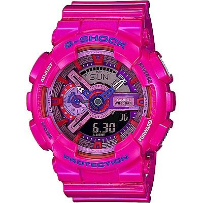 CASIO卡西歐 G-SHOCK 艷彩雙顯錶-粉紅(GA-110MC-4ADR)