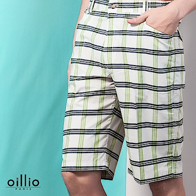 歐洲貴族oillio 休閒短褲 格紋款式 電腦刺繡 白色
