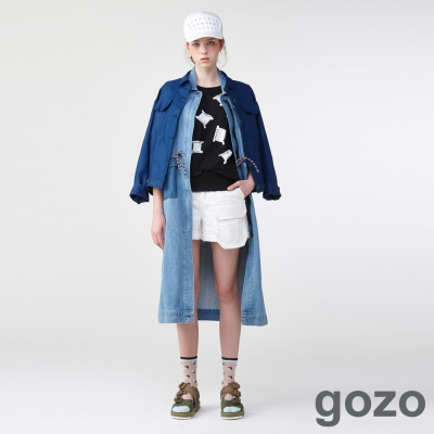 gozo立體格紋工裝口袋短褲(二色)