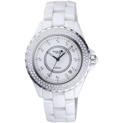 Roven Dino羅梵迪諾 名家品味晶鑽陶瓷腕錶-白/大/40mm