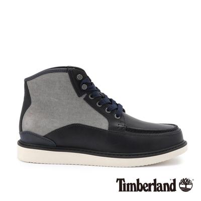 Timberland 男款深藍帆布拼接皮革中筒靴