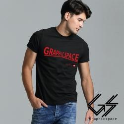 品牌紅色變形字樣磨毛水洗T恤 (黑色)-GraphicSpace
