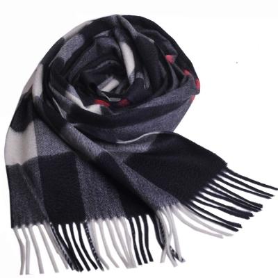 BURBERRY 經典大方格紋喀什米爾羊毛披肩/圍巾(深藍/大)