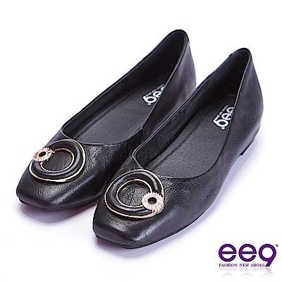 ee9 花漾年華鑲嵌水鑽內增高平底娃娃鞋 黑色