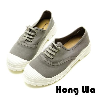 Hong Wa輕少女風帆布綁帶休閒便鞋-質感灰