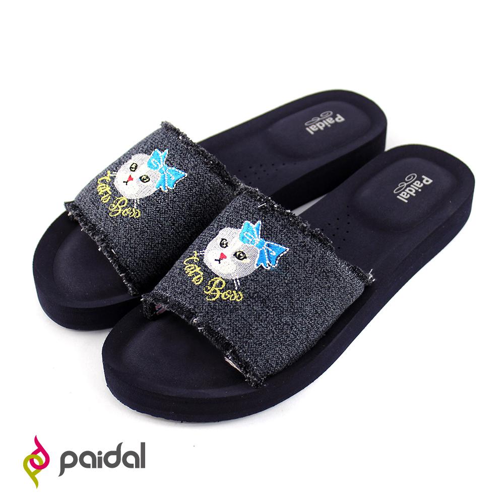 Paidal黑牛仔古典貓一片式膨膨氣墊拖厚底拖鞋