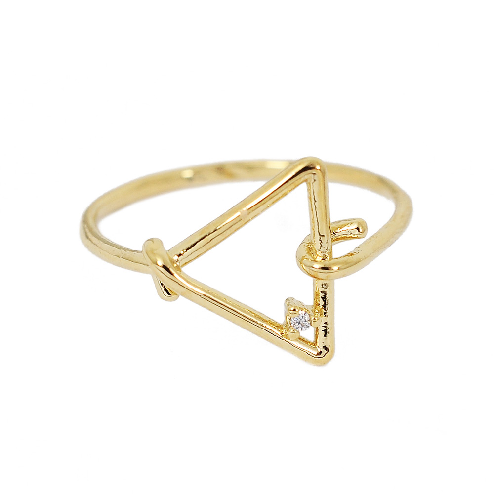 ASTRID&MIYU英國潮流品牌 三角繩結指節戒指金